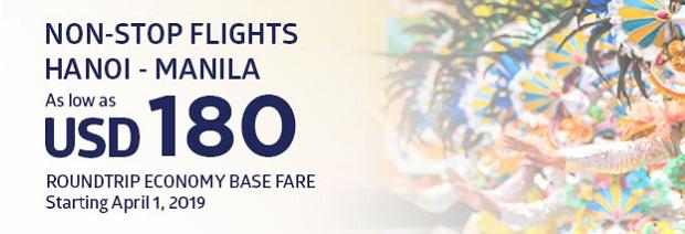 Vé khuyến mãi của hãng Philppines Airlines từ Hà Nội - Philippineair.net
